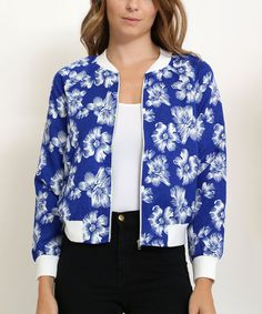 Look at this Blue & White Floral Bomber Jacket on #zulily today!