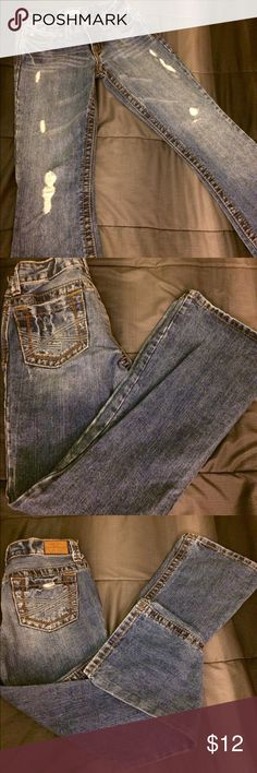 Aeropostale jeans Blue denim distressed denim jeans skinny boot cut,bought of posh but they're too small so reselling. Aeropostale Jeans Boot Cut
