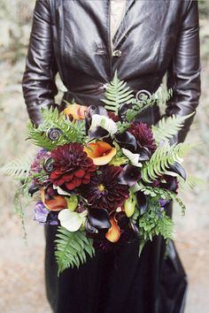 Flowers, Bouquet, Green, Dress, Red, Wedding, Black, Roses, Forest, Leather