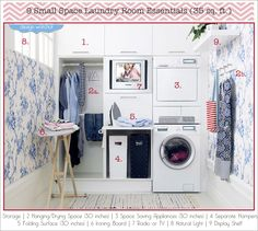 How to create a functional laundry room in less than 35 sq. ft. Oh, and don't forget the wallpaper.