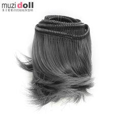 De Color gris rizado rollo pelo Fringe explosión del pelo para muñecas(China (Mainland))