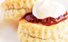 For amazingly light scones, the secret is the cream scone recipe. Cream   replaces butter and milk, and while you think this might make the scone   heavier, it doesn't. The dough is easy to roll out and form, then cook into   light, airy scones.