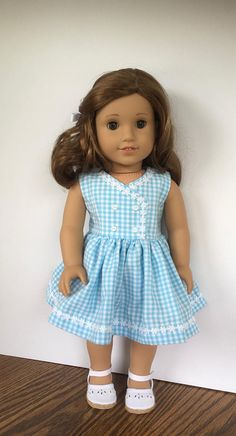 18 Doll Blue And White Gingham Dress With White Daisy