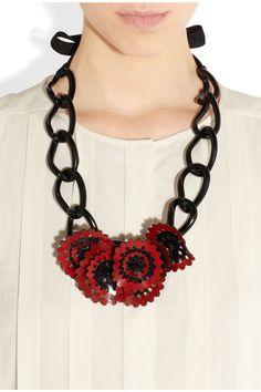 MARNI floral acetate necklace