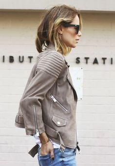 ☼ ☾Grey leather moto, denim jeans. Best fashion trends.