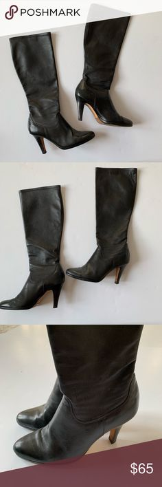 032efc20ed0d Cole Hann Nike Air Tall Leather Boots High Heel 10 Buttery soft leather  high heel black