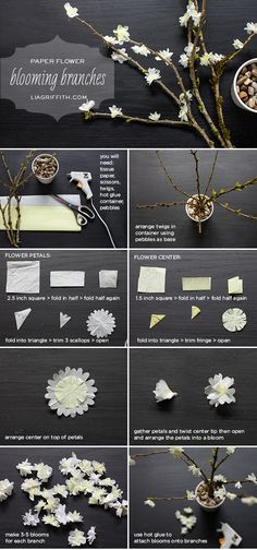 DIY Tissue Paper Blooming Branches | Lia Griffith