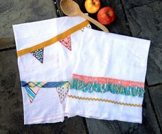 Appliqué Flour Sack Kitchen Towels   by Sewlovelees on Etsy, $24.00