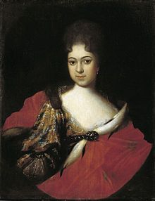 Praskovya Ivanovna, lived 1694–1731, Russian tsarevna, daughter of Ivan V  and Praskovia Saltykova. Niece of Peter I, the Great, sister of Empress Anna Ivanovna.  Her father died in 1696 and she was raised with her sisters Catherine Ivanovna and Anna at the estate awarded to her mother by Tsar Peter, Izmailovo. Married to a Rurikid noble, Ivan Dmitriev-Mamonov. Died childless.