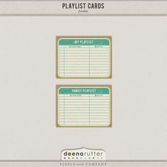 Quality DigiScrap Freebies: Playlist Cards freebie from Deena Rutter