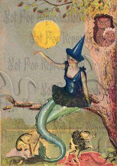 HALLOWEEN FABRIC BLOCKS PHM4 Halloween Mermaid Frogs & Owls Fabric by wwwvintagemermaidcom, $7.00