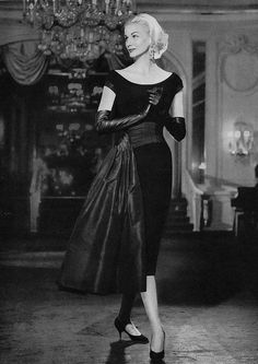 Sunny Harnett for Vogue, 1957.--love the velvet dress.  I would use a smaller hip scarf in a pop of color or texture