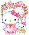 Happy Birthday!!! Kitty con flores para decir Feliz Cumpleaños!!!