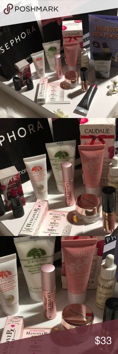 Sephora's All Stars🌟 All new/unused- includes everything you see- Featuring: Too Faced better than sex, Too Faced Hangover 3-1 replenishing Primer & Setting spray, Tarte tartiest, Origins, Bite lipstick in beetroot and bite agave lip mask, Josie Maran, Smashbox Full Size photo finish: Caudalie Cream sorbet & Radiance Serum & Benefit foolproof brow powder (single use) ⭐️🌟⭐️.  I do send Freebies!!!!!! Sephora Makeup