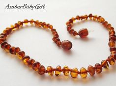 Baltic Amber Teething Necklace for Babies and Children, Amber Necklace, Cognac Amber Teething Necklace, Children Amber Jewelry