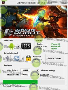 This Pin is about Ultimate Robot Fighting Hack Tool. It is adding Unlimited Gold Points, Match Points, Energy and Double XP. It is for Android and iOS including iPhone and iPad  Download link: http://needcheats.net/ultimate-robot-fighting-cheats-gold/