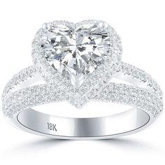 3.45 Carat H-VS1 Heart Shape Vintage Style Natural Diamond Engagement Ring 18k #LioriDiamonds #DiamondEngagementRing