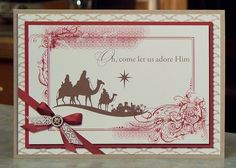 Set of 4 Handmade Christmas Cards - Stampin Up Come to Bethlehem