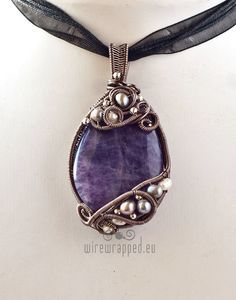 OOAK amethyst and pearls oval freeform wire wrapped pendant