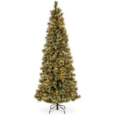 National Tree Company 7.5' Glittery Bristle Slim Pine Hinged Christmas... ($800) ❤ liked on Polyvore featuring home, home decor, holiday decorations, no color, white home accessories, holiday decor, national tree company and white home decor