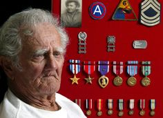 Mike Sovan was the commander of a Chaffee  tank in Patton's 3rd Army during  World War II. A picture of him while in the service along with his 6th Armored Division patch, Sergeant stripes and his military medals are all part of a shadowbox displayed on the wall of his Englewood, Fla. home. Sun Photo by Jonathan Fredin.