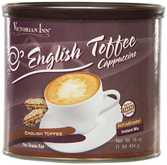 Victorian Inn Instant Cappuccino, English Toffee, 16-Ounce Canisters (Pack of 6) >>> Read more info by clicking the link on the image. #Coffee