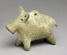 Terracotta boar figurine Period: Early Cypriot III–Middle Cypriot I Date: ca. 2000–1800 B.C. Culture: Cypriot Medium: Terracotta; hand-made
