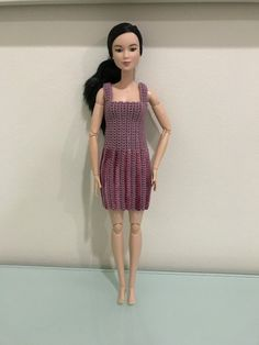 Barbie Vertical Striped Dress Sewing Barbie Clothes, Crochet Doll Clothes, Doll Clothes Patterns, Clothing Patterns, Doll Patterns, Crochet Barbie Patterns, Crochet Doll Pattern, Crochet Dolls, Baby Patterns