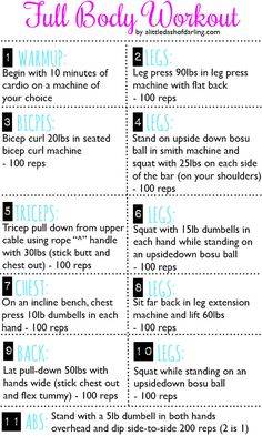 full body workout from - a little dash of darling