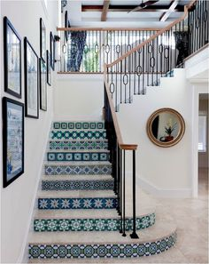 PATTERN: the pattern of the stairs makes the upstairs look so inviting. I can imagine this room with just white and it would just blend together.