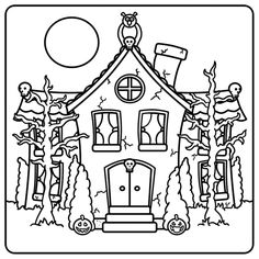 haunted house idea to ink onto a pumpkin lose cute detail and trees and place