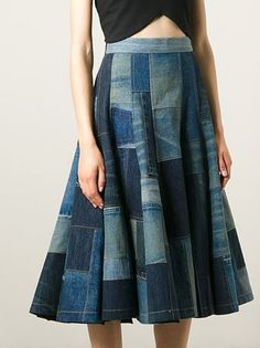 Junya Watanabe Comme Des Garçons Patchwork Denim Skirt - Julian Fashion - Farfetch.com