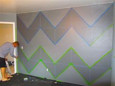 how to paint crisp stripes on a textured wall- even on knockdown. Plus, draw a grid with chalk lines for perfect chevron