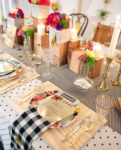 Floral, plaid and polka dots bridal lunch table setting