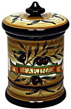 Ceramic Majolica Flour Jar Tuscan Brown Olive 20cm