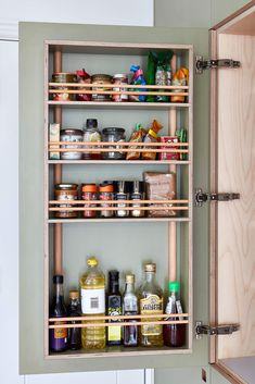kitchen larder door with spice storage all made from plywood Modern Kitchen Furniture, Kitchen Interior, Kitchen Larder, Plywood Cabinets, Spice Storage, Kitchen Storage Solutions, Pantry Design, House And Home Magazine, Liquor Cabinet