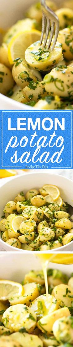 Potato Salad You don't need mayo for a terrific potato salad! The secret is to marinade the potato.You don't need mayo for a terrific potato salad! The secret is to marinade the potato. Potato Side Dishes, Vegetable Side Dishes, Vegetable Recipes, Veggie Food, Lemon Potato Salad Recipe, Potato Recipes, Lemon Potatoes, Baby Potatoes, Roasted Potatoes