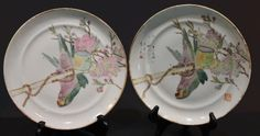 Beautiful antique Chinese Famille Rose porcelain dishes with parrots.