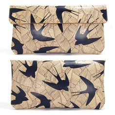 Etsy Transaction - Leather Clutch bag - Swallows and leaf