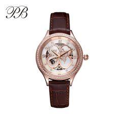 US $106.64 - Famous Brand PB Watch Women Ultra Thin Gold Leaf Clover Diamonds Automatic Self-Wind Mechanical Watch relojes de mujer HL598
