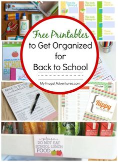 Tons of free printables to get organized for Back to School!  Lunchbox notes, homework planners, calendars and much more!