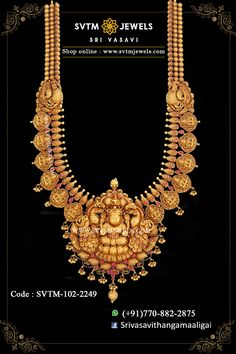 Set in yellow gold long necklace studded with kemp stones beautifully. Shipping across India and USA. Gold Temple Jewellery, Gold Earrings Designs, Antique Gold, Choker, Gold Necklace, India, Neck Choker, Gold Pendant Necklace, Goa India
