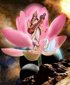 Saraswati  Maa Saraswati Painting, Saraswati Statue, Saraswati Goddess, Lord Shiva Painting, Saraswati Mata, Shiva Shakti, Durga, Divine Goddess, Goddess Art