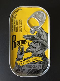 Canned food with a cool package Design. From a small shop in Portugal: Loja das conservas hlodesign packaging PD Chip Packaging, Food Packaging Design, Print Packaging, Packaging Design Inspiration, Branding Design, Olives, Portugal, Bottle Design, Food Design