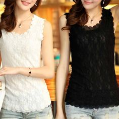 d90c4ed107 Buy Women Lady Lace Collar Tank Top Vest Sleeve less T-Shirt Sexy Blouse  Free size at Wish - Shopping Made Fun