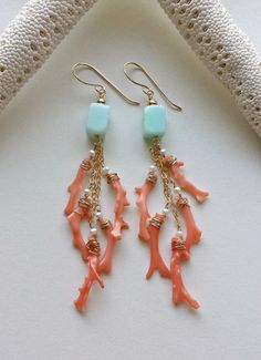 Items similar to Peach Aqua Dangle Earrings, Blue Peruvian Opal Dangle, Pink Coral Branch Earrings on Etsy Coral Jewelry, Shell Jewelry, Jewelry For Her, Tiffany Jewelry, Beaded Jewelry, Fine Jewelry, Jewelry Making, Boho Jewelry, Key Jewelry