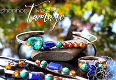 """A deep blue chunk of Afghani lapis lazuli is nestled next to a natural nugget of turquoise and surrounded by glowing hessonite in a wash of sunset colors.   Available for purchase at: http://ift.tt/2kX4XLR  I used sterling silver to hand-forge the cuff and very very fine argentium silver to wire wrap the gemstones in place. The cuff was then oxidized and polished to add depth and dimension.  The cuff has an inner dimension of 6 1/2"""" including a standard gap of 1"""". The row of gemstones is a…"""