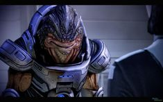 Grunt from Mass Effect 2 & 3.  His character' and the design of his species is rather unique and is one of the many things I like about the Krogan.
