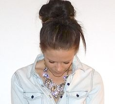 Ily Couture necklace!  Denim button up!