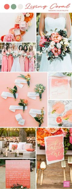 Living Coral Wedding Color Board#board #color #coral #living #wedding Winter Wedding Colors, Peach Wedding Colors, Coral Wedding Flowers, Burgundy Wedding, Summer Wedding Themes, Pantone, Pink Color Schemes, Wedding Color Schemes, Wedding Color Palettes